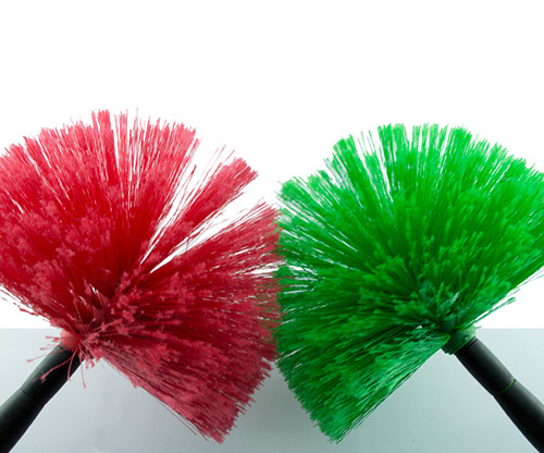 feather, red and green cobweb broom