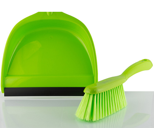feather, green orchid dustpan set