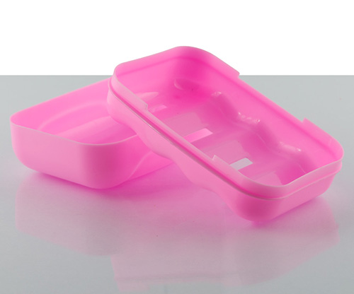 feather, pink soap case