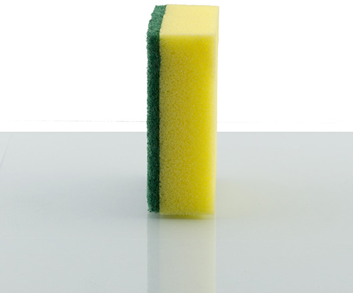 feather, sponge scouring pad