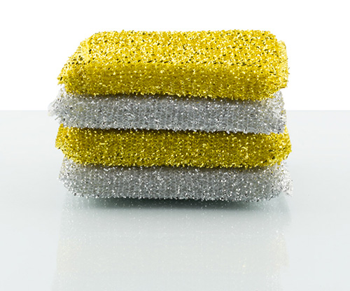 feather, glitter scouring pad with 4 pieces